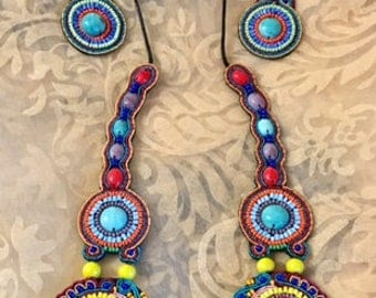USA FREE SHIPPING!! Native American Multicolored Beaded Jewelry Set