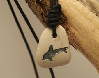 Pendant necklace irish beachstone, Ireland beach pebble, dolphin engraving