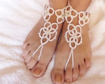 Beach wedding shoes etsy barefoot sandals beach wedding shoes foot jewelry white bridal shoes wedding accessory junglespirit Choice Image