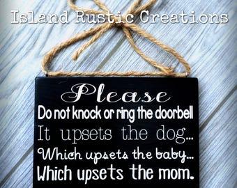 Door sign • baby sleeping sign • rustic wood sign