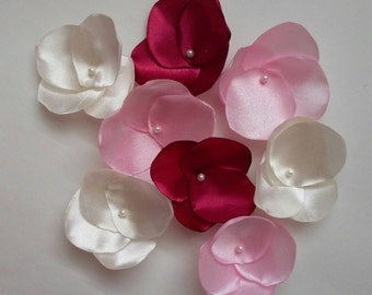 Fabric  flowers, burgundy flowers, burgundy decoration, fabric flowers, rose petals, sew on appliques, flowers for crafts, burgundy wedding.