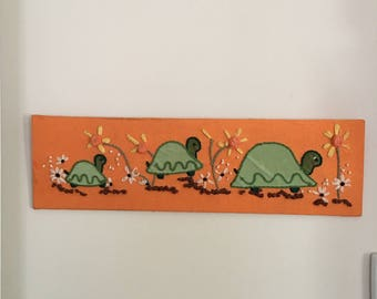 Vintage turtle family needlepoint , appliqué wall hanging