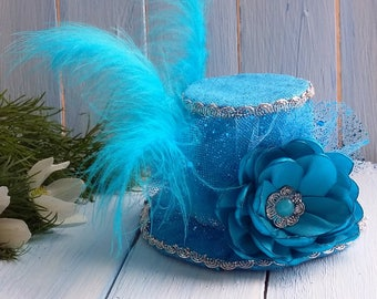 Mini Top Hat Headband Birthday Hat Blue Mini Top Hat Mad Hatter Mini Hat Tea Party Hat Alice in Wonderland Top Hat Fascinator Baby Shower