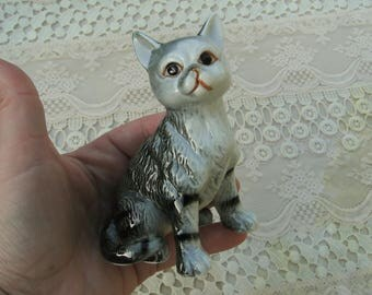 Cute Gray Tiger Striped Cat Statue