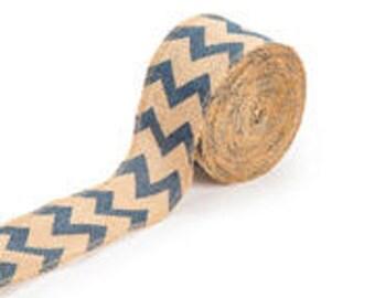 10 yards Burlap Ribbon - Blue Chevron Ribbon - Blue Chevron Burlap Ribbon - Burlap Chevron Ribbon - Wreath Decor -  Burlap Bow -Blue Chevron