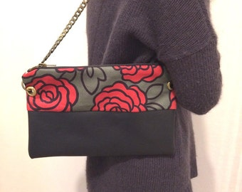Handbag leather and fabric flowers with brass chain loop and night blue color