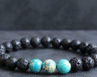 Bracelet lava stone & sediment Jasper blue