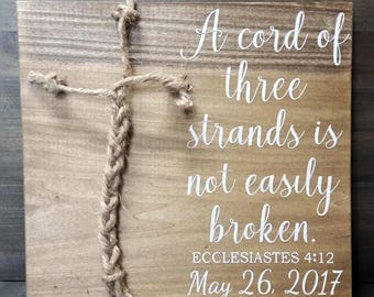 Small Alternative Unity Candle-A Cord Of Three Strands Is Not Easily Broken-Ecclesiastes 4:12-Rustic Wedding Sign