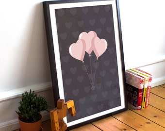 Digital Download - Balloon Hearts Art Print