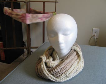 Shades of Coffee Crochet Cowl,  Infinity Scarf