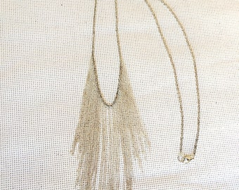 Silver fringe necklace, long necklace, long fringe necklace, chain fringe necklace