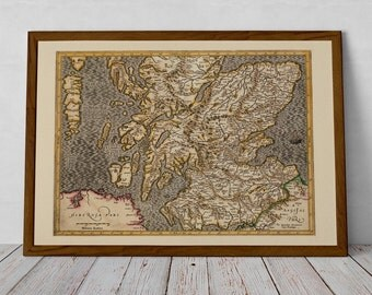Medieval Map of Scotland  - Giclée Reproduction of Historic Edinburgh, Aberdeenshire, Perthshire, Dundee, Loch Ness, Fife, Angus, Borders UK