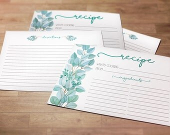Watercolor Floral Recipe Cards, Set of 24 Cards