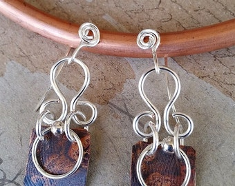 Textured copper earrings/Patinated copper/Silver wirework/Handmade/Unique/Free Shipping/Copper Witch Designs/Made in USA/The Copper Witch