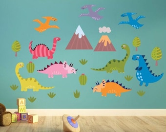 Daft Dinosaurs Kids Wall Decals   Kids Wall Stickers   Kids Wall Art    Dinosaur Theme