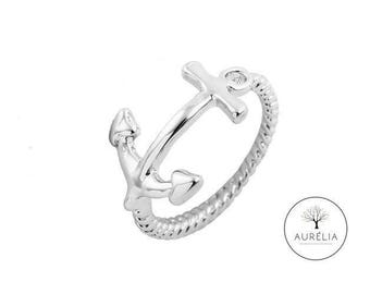 """Silver plated ring """"Anchor"""""""