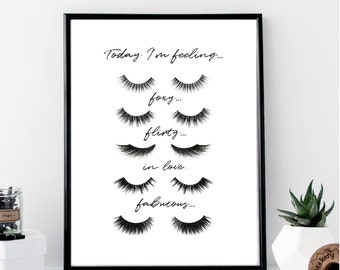 Today I'm Feeling Eyelashes Print // Minimalist // Wall Art // Fashion // Typography // Fashion // Scandinavian // Boho // Modern // Makeup
