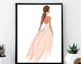 Fashion Girl with A Pink Dress Print // Minimalist // Wall Art // Office DIY // Scandinavian // Modern Office // Fashion // Makeup