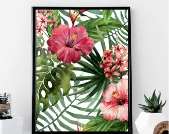 Tropical Flowers Print // Minimalist // Wall Art // Office DIY // Scandinavian // Modern Office // Fashion // Abstract // Modern // Gift