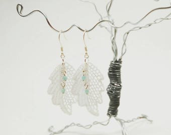 White Leaf Venice Lace Earrings with Pale Blue Faceted Glass Beads
