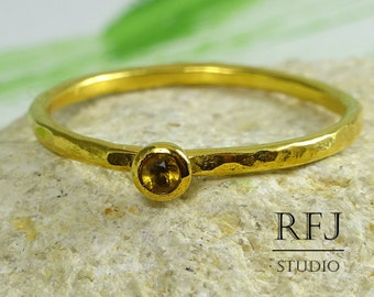 Yellow Gold Natural Citrine Hammered Ring, 2 mm Round Cut November Birthstone Citrine Ring, 24K Yellow Gold Plated Stacking Citrine Ring