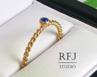 Lab Sapphire Rope Rose Gold Ring, September Birthstone 14K Rose Gold Plated Ring, Blue 2mm Corund Lab Sapphire Twisted Rose Gold Plated Ring