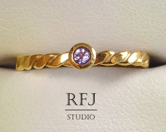 Natural Amethyst Flat Twist Rose Gold  Ring, February Birthstone 14K Rose Gold Plated 2 mm Purple Amethyst Ring, 14K Gold Amethyst Ring