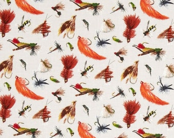"""Fish Fabric: Fishing Lures/ Fish Lure by Elizabeth's Studio Top Rod collection on Cream 100% cotton fabric by the yard 36""""x44"""" (E221)"""