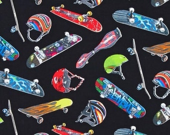 "Sports Skateboard Fabric: Skateboard Helmets and Skateboards on Black by Elizabeth's Studio 100% cotton Fabric By the Yard 36""x44"" (ES16)"