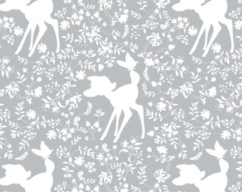 "New Disney Bambi Silhouette in Grey 100% Cotton Fabric by the yard 36""x43"" (CA304)"