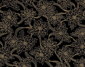 """Christmas Fabric, Poinsettia Fabric : Christmas Metallic Poinsettia Outline Black Floral  100% cotton Fabric by the yard 36""""x43"""" (QT118)"""