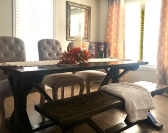Harvest Style Dining Table with Optional Bench