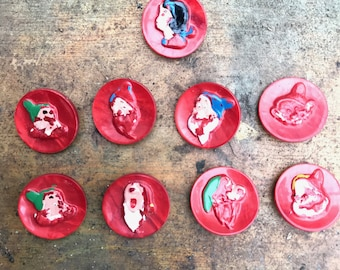Vintage Snow White & Seven Dwarves Panted Red Buttons