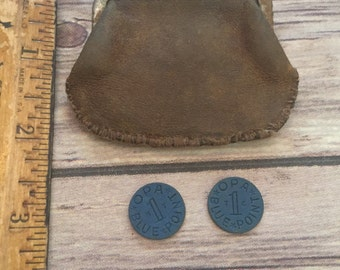 Vintage Leather Coin Purse and WW2 Ration Coins