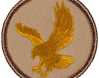 Gold Eagle Patch (760) 2 Inch Diameter Embroidered Patch