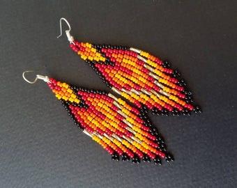 Duster earrings, tribal earrings, huichol earrings, native American earrings , beaded earrings