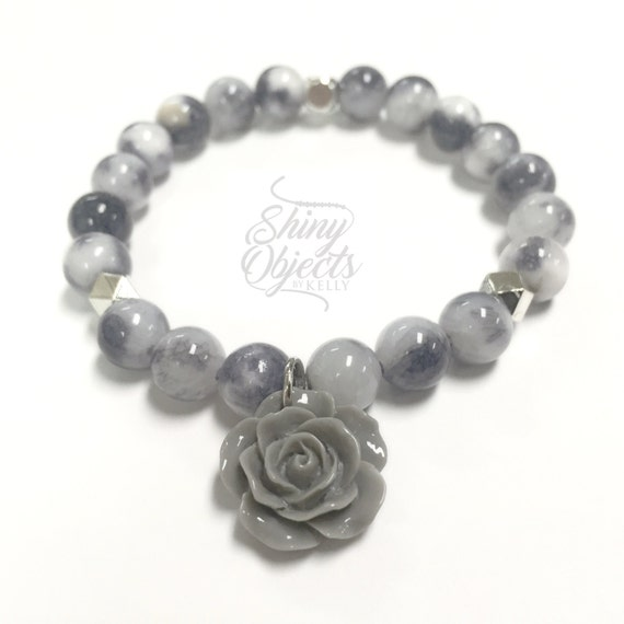 Mountain Jade and Rose Beaded Charm Bracelet with Silver Spacers