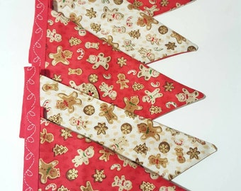 Festive bunting- gingerbread bunting - handmade fabric bunting - double sided- Xmas bunting- home decor