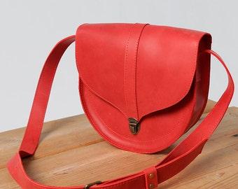 Red clutch leather handbag woman bag original bag small bag mini bag modern bag roomy bag handmade bag trendy bag bright bag simple bag