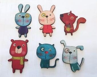 Wood Laser Cut Colorful Cartoon Animals