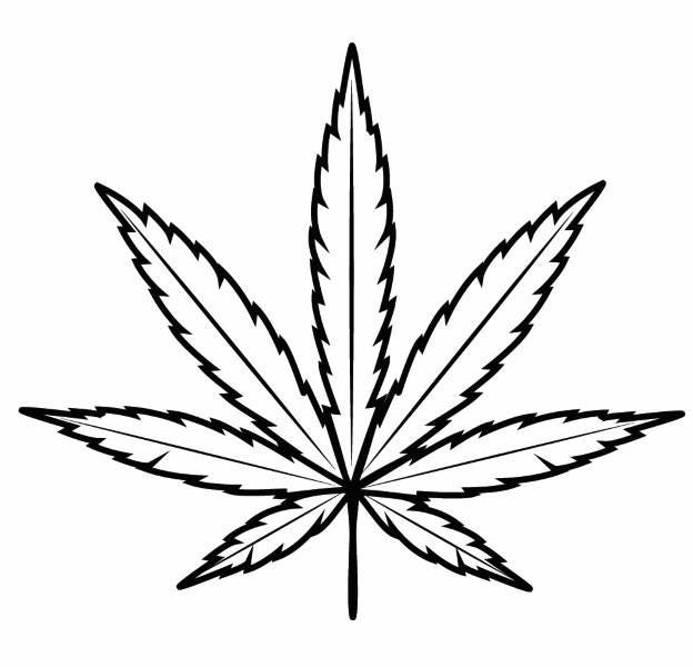 Marijuana Leaf Outline Cannabis Pot Smoking Bong .SVG .EPS