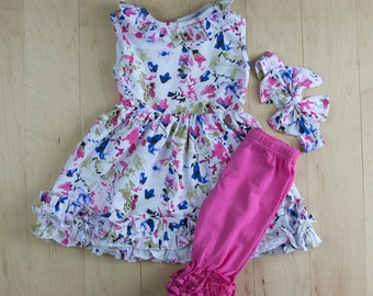 Spring/Summer Emerson Print Tank Top Ruffle Pearl Dress with Matching Icing Capris