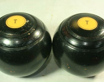 Two Vintage Wooden Lawn Bowls