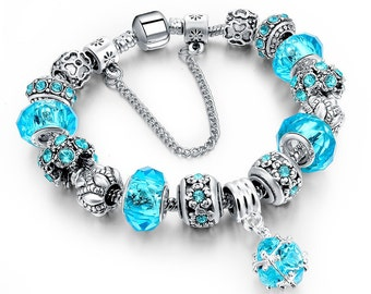 Friendship Charm Bracelet Blue Crystal