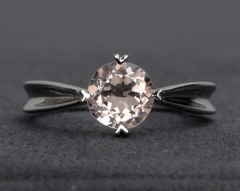 Morganite engagement ring solitaire sterling silver