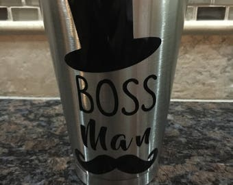 16 oz Stainless Steel Insulated Tumbler - Travel Coffee Cup *Boss Man/Boss Lady* Customizable