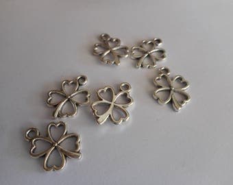 Charms (4) cloverleaf,Silver,tibetan silver, DIY,happiness,4  Charms,Friendship Charms