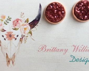 12mm- Burgundy druzy earrings