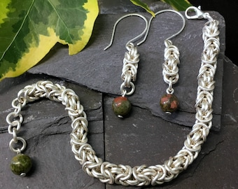 Byzantine chainmail bracelet / Byzantine chainmail earrings / set / silver plated Byzantine jewelry / Unakite beads / sterling silver hooks