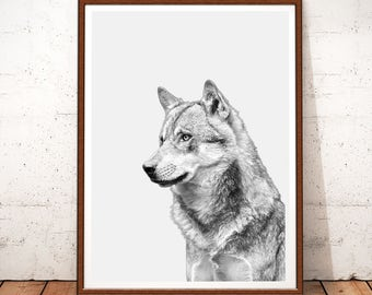 Wolf Print, Nursery Decor, Wolf Printable, Woodland Nursery, Woodlands Animal Wall Art, Nursery Prints, Wolf Poster, Nursery Art, Wolf Art